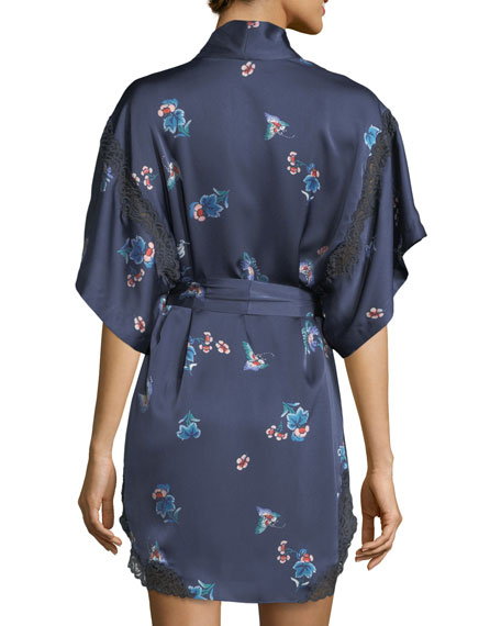 Papillon-Print Short Robe