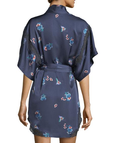 Papillon-Print Short Robe