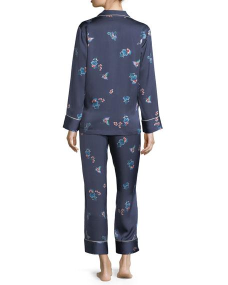 Papillon-Print Long Pajama Set