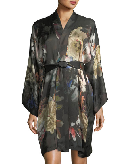 Christine Designs Dark Romance Short Silk Kimono Robe