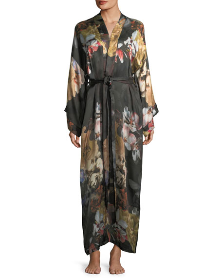Christine Designs Dark Romance Long Silk Kimono Robe