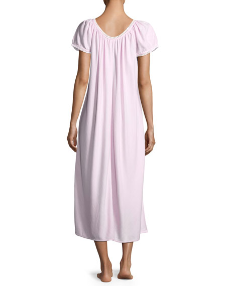 Helena Short-Sleeve Long Nightgown