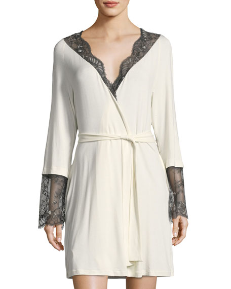 Cosabella Delight Lace Long Sleeve Short Robe