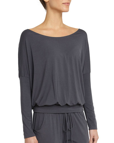Umma Ballet-Neck Long-Sleeve Lounge Top