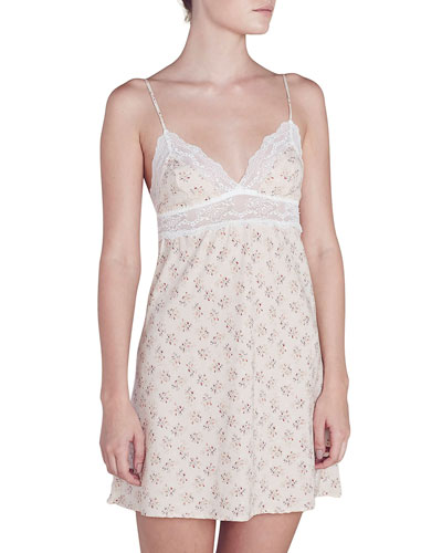 Lou Lace-Inset Silk Chemise