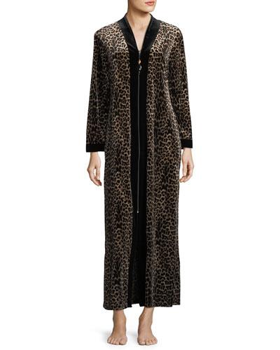 Leopard-Print Velvet Zip-Front Caftan