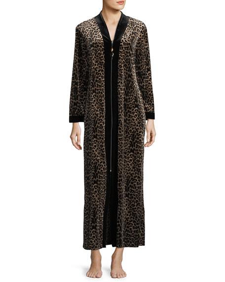 Diamond Tea Gown Leopard-Print Velvet Zip-Front Caftan