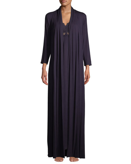 Fleur't Forever Silk-Trim Long Robe and Matching Items
