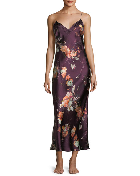 Meng Floral-Print Sleeveless Silk Nightgown
