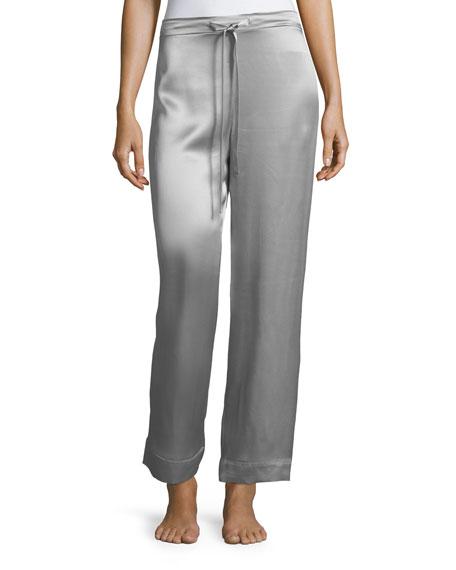 Drawstring-Waist Silk Satin Pajama Pants
