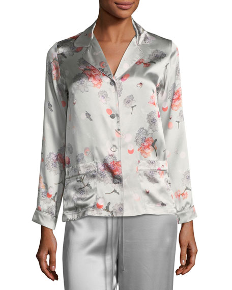 Meng Floral-Print Long-Sleeve Pajama Top
