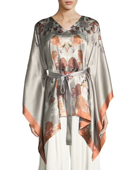 Meng Floral-Print Silk Kimono-Sleeve Lounge Top and Matching