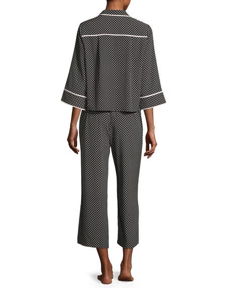 polka-dot cropped pajama set