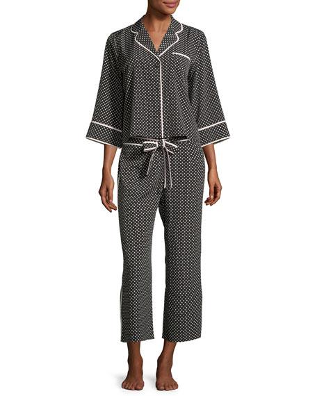 kate spade new york polka-dot cropped pajama set