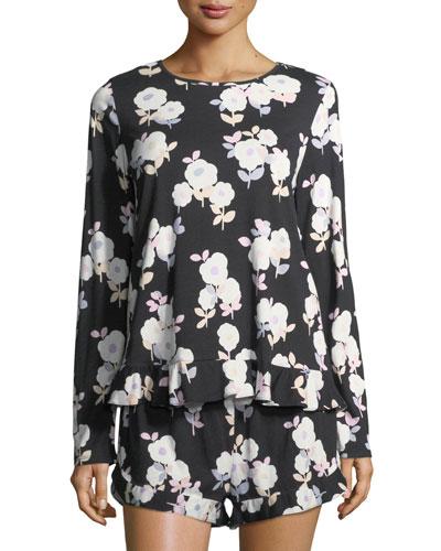floral-print short pajama set