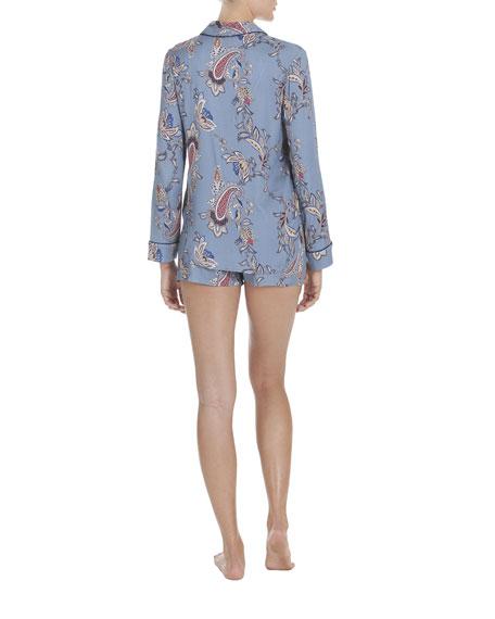 Paisley-Print Long-Sleeve Shortie Pajama Set