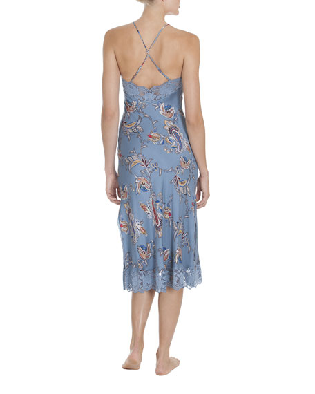 Paisley Print Lace-Trim Nightgown