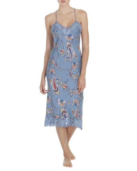 Jonquil Paisley Print Lace-Trim Nightgown