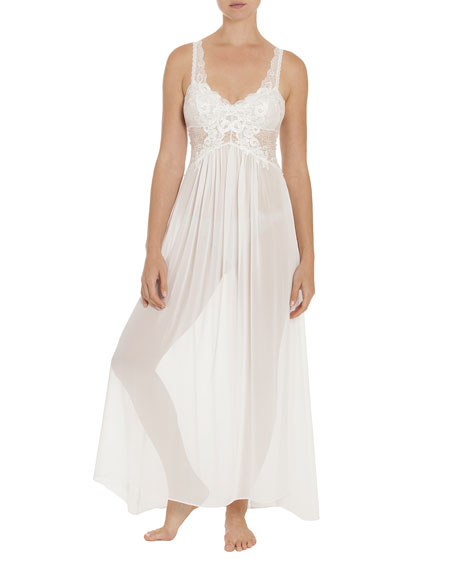 Jonquil Anastasia Lace-Trim Chiffon Nightgown