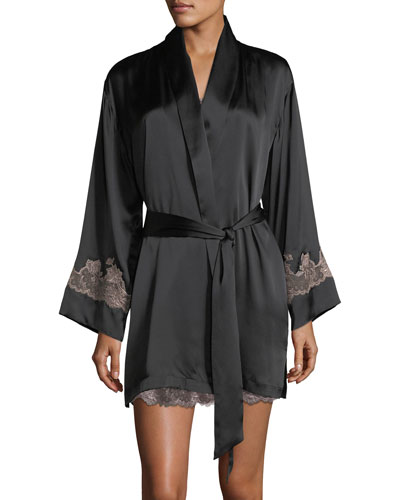 Lolita Lace-Trim Silk Short Robe