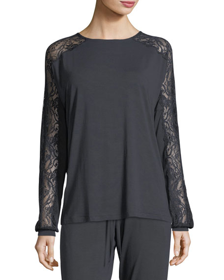 Sensual Opulence Lace-Sleeve Lounge Top
