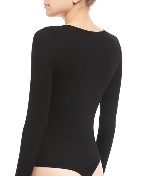 V-Neck Long-Sleeve 2x1 Rib-Knit Bodysuit