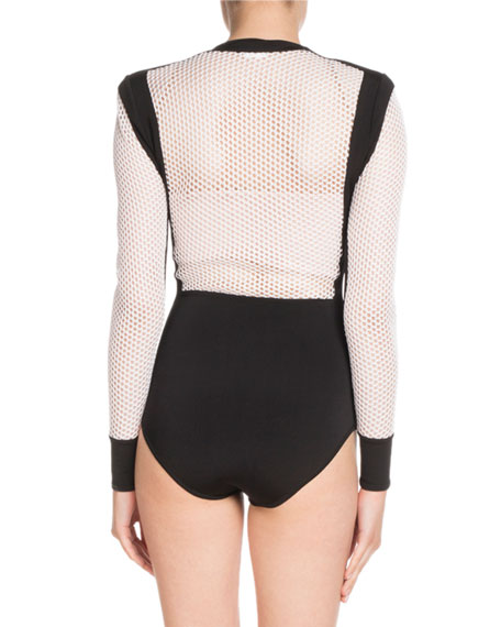 Long-Sleeve Zip-Front Bicolor Mesh Bodysuit