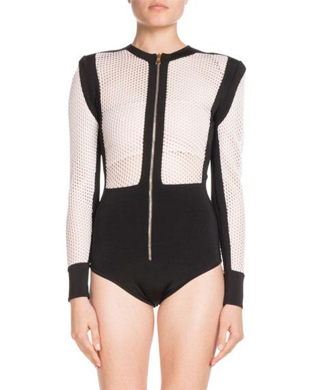 Long-Sleeve Zip-Front Bicolor Mesh Bodysuit