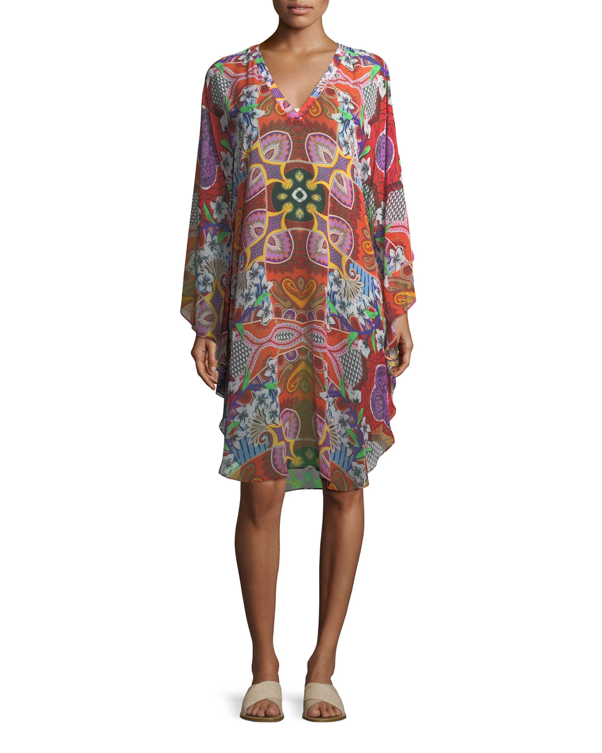 e50dabd1b00 Etro V-Neck Printed Silk Coverup Poncho Dress