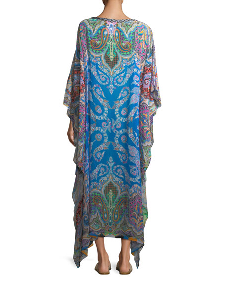 Multi-Printed Long Coverup Caftan