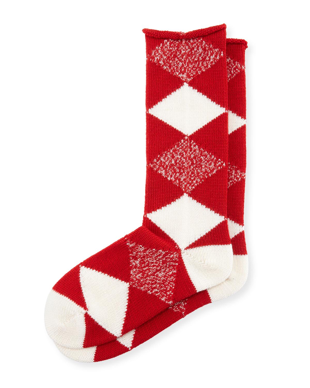 Burberry Argyle Merino Wool Socks, Bright Red | Neiman Marcus