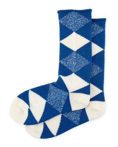 Merino Wool Argyle Check Socks, Cobalt