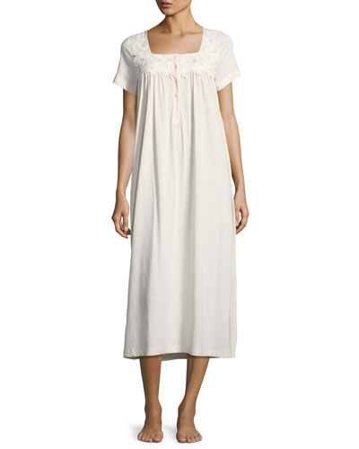 Floral-Appliqué Jersey Nightgown