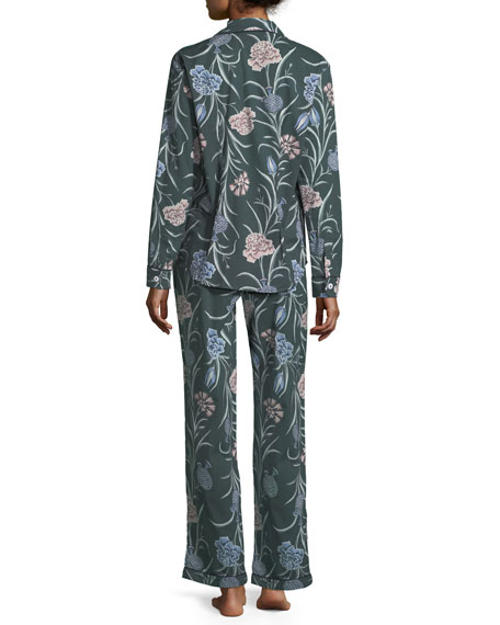 British Floral-Print Long Pajama Set