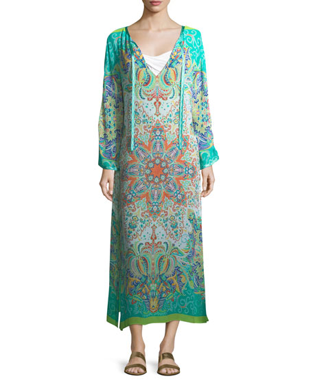 V-Neck Long Printed Caftan Coverup w/ Ribbon