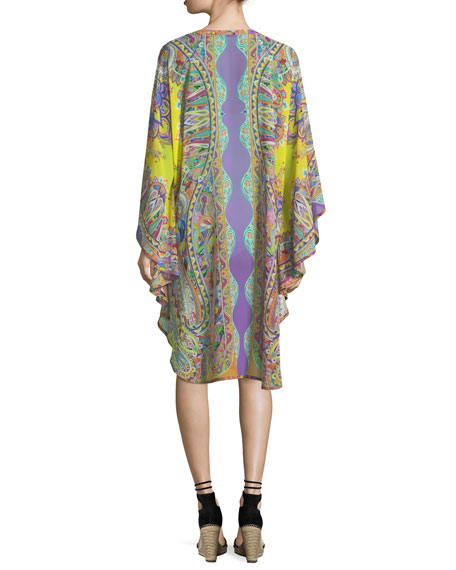 V-Neck Long-Sleeve Printed Silk Caftan Coverup