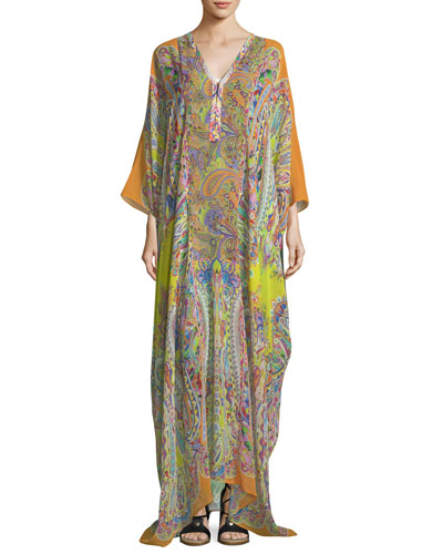 V-Neck Long-Sleeve Printed Long Silk Kaftan Coverup