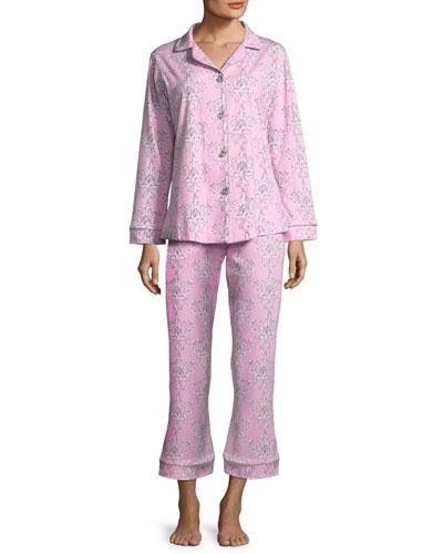 Painted Damask Long-Sleeve Classic Pajama Set, Plus Size