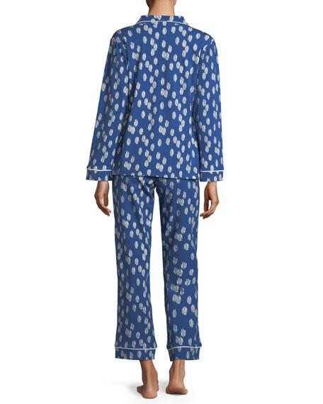 Ikat Dot Long-Sleeve Classic Pajama Set, Plus Size