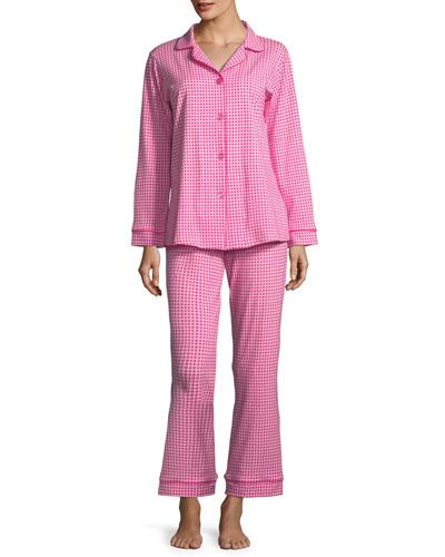 Pearls Long-Sleeve Classic Pajama Set, Plus Size