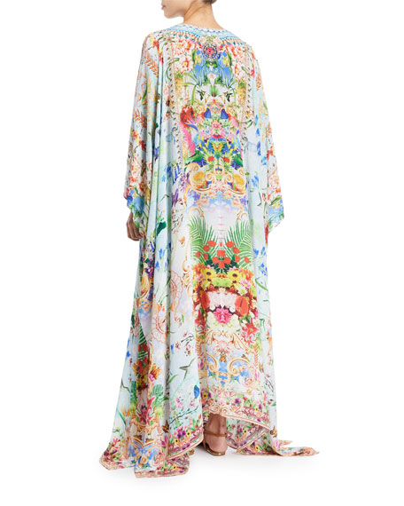 V-Neck Long-Sleeve Printed Silk Kaftan Coverup, One Size