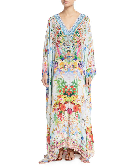 Camilla V-Neck Long-Sleeve Printed Silk Kaftan Coverup, One