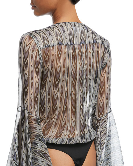 Bell-Sleeve Chiffon Printed Metallic Bodysuit