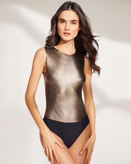 Faux-Leather Sleeveless Bodysuit
