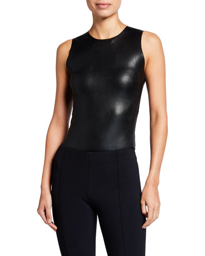 Faux-Leather Sleeveless Bodysuit