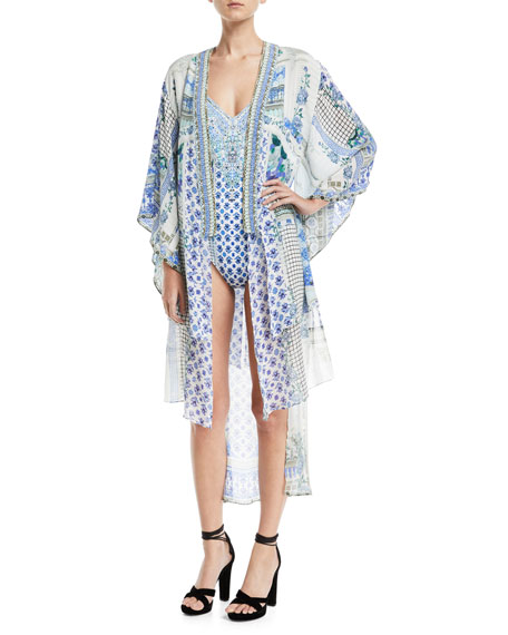 Camilla Open-Front Beaded Silk Kimono Coverup and Matching