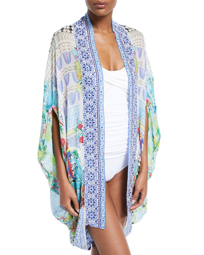 Open-Front Cardi Cape Coverup
