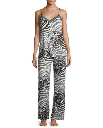 Feathers Zebra-Print Cami Pajama Set