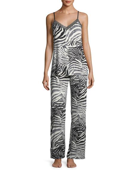 Natori Feathers Zebra-Print Cami Pajama Set