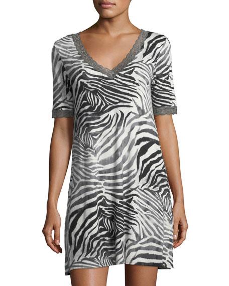 Natori Feathers Zebra-Print Sleepshirt